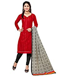 Inddus Women Red & Black Chanderi Embroidered Dress Material