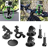 EEEKit 7-in-1 for GoPro Hero HD 3+/3/2/1, Bike Handlebar Mount for Camera + Suction Cup Mount for Camera + Suction Cup Pad + 2-Pack Tripod Mount Adapter for GoPro Hero HD 3+/3/2/1 + 2-Pack Long Screw Bolt