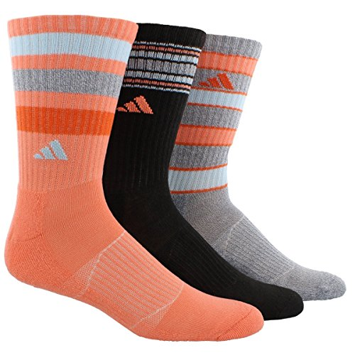 Adidas Womens Cushioned 3-Pack Crew sock, Sun Glow/black/Heather Grey/Ice Blue/Super Orange, One Size