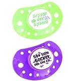 ESSKA moda de silicona chupete (Verde / Lila, Pack de 2)