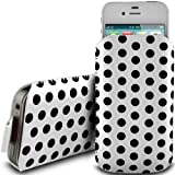 WHITE POLKA DOT PREMIUM PU LEATHER PULL FLIP TAB CASE COVER POUCH FOR NOKIA LUMIA 800C BY N4U ACCESSORIES