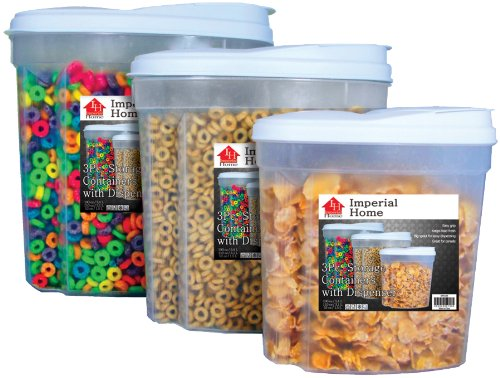 Review Imperial MW1196 Plastic 3 Piece Cereal Dispenser Set - Dry Food Storage Containers