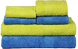 Trident 2 Large Bath , 2 Hand And 2 Face Towels Set Of 6 Pcs-Green & Blue