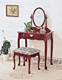 Coaster Queen Anne Style Vanity Table Stool/Bench and Mirror Set, Cherry Fi ....