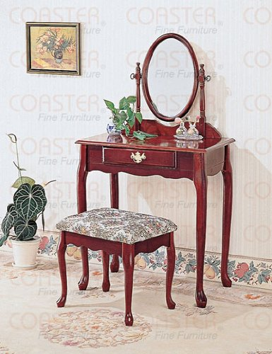 Coaster Queen Anne Style Vanity Table Stool/Bench and Mirror Set, Cherry Finish Wood