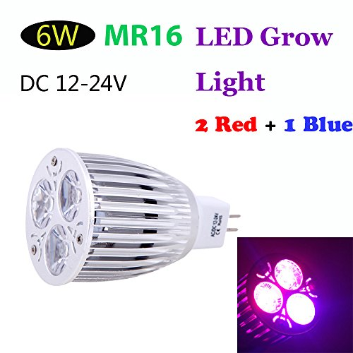 Kkmoon Mr16 6W Led Plant Grow Light 2 Red 1 Blue Energy Saving Hydroponic Lamp Bulb For Indoor Flower Plants Growth Vegetable Greenhouse Dc12-24V