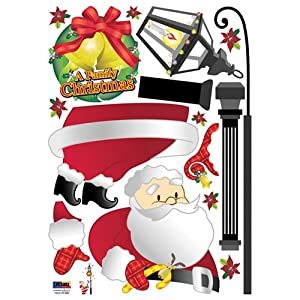 #!Cheap Easy Instant Decoration Wall Sticker Decal - A Family Christmas with Santa Claus