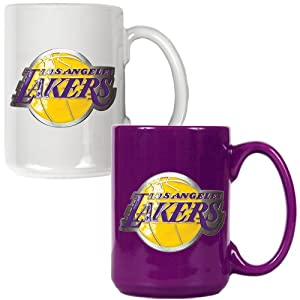 NBA Los Angeles Lakers Two Piece Ceramic Mug Set - Primary Logo by Great American Products