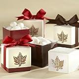 (Price/48 Pcs)Idoo Autumn Elegance Laser-Cut Fall Leaf Favor Box - Red & Brown