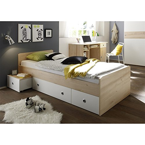 g nstig funktionsbett sunny 90x200 cm in buche und wei kinderbett stauraumbett mit 3. Black Bedroom Furniture Sets. Home Design Ideas