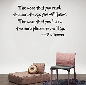 Tarmader The More That You Read The More Things You Will Know Words by Dr. Seuss Wall Stickers Art Home Decals Decor Quote