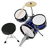 3pcs Junior Kid Child Drum Set Kit Sticks Throne Cymbal Bass