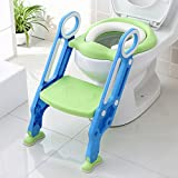 Potty Toilet Trainer Seat with Step Stool Ladder Adjustable Baby Toddler Kid Potty Toilet Seat for Boy and Girl Children's Toilet Training Seat Chair (Color: Green)