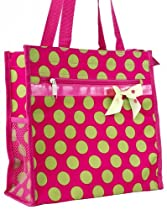 Pink and Green Polka Dot Bow Travel Tote Bag with Coin Purse