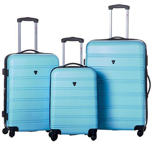 Merax Travelhouse Luggage 3 Piece Expandable Spinner Set (Skyblue)