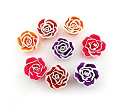 150Pcs Mixed Handmade Fimo Polymer Clay Rose Flowers Jewelry Beads Findings Decoration 25mm