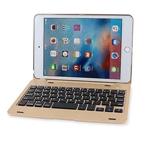 efluky iPad mini Bluetoothキーボードipad mini 4に対応 可移動的保護 SmartCover (金色)