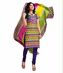 Neerja creation womens cotton Unstiched Dress material(K-1014_Multi-Coloured)