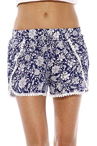 GS119061-2-L Just Love High Waisted Women Shorts - Summer Pom Pom Beach Shorts Shorts