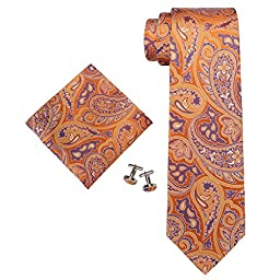 Landisun 90T Orange Paisley Mens Silk Tie Set: Tie+Hanky+Cufflinks Seven Fold, 3.25\
