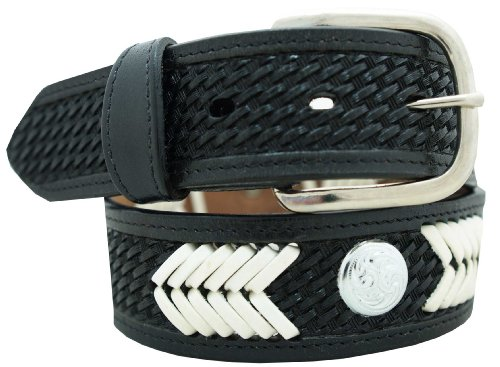 """Hand Laced Basketweave Belt 1 1/2"""" w/ Hand laced design & accent silver conchos. Black, Size 32"""
