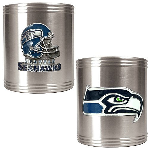 NFL Seattle Seahawks Two Piece Stainless Steel Can Holder Set - Primary & Helmet Logo at Amazon.com