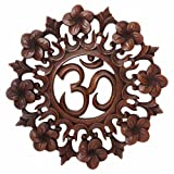 Hand-carved Suar Wood Om Wall Hanging By Balinese Artists