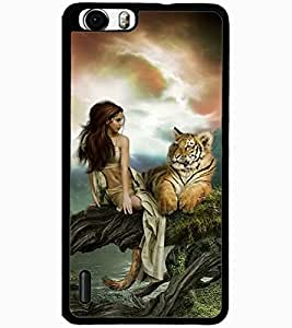 ColourCraft Girl with Tiger Design Back Case Cover for HUAWEI HONOR 6 PLUS