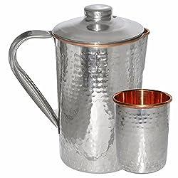 Prisha India Copper Jug Pitcher With Tumbler Drinkware Set Indian Copper Utensils for Ayurveda Healing