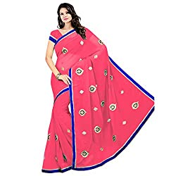 Prism Collection Chiffon Embroidered Saree (PRISM SARI 02_Red)