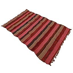 Chindi Handmade Indian Rugs Hand Woven Mat Cotton Rug Floor Runner Carpet Dari 72X44 Inches