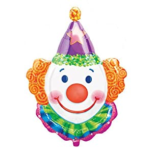 "XL 25"" Clown Head Super Shape Mylar Foil Balloon Circus Carnival Party"
