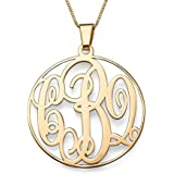 Solid Gold Monogram Necklace Personalized Name Necklace Initial Necklace!