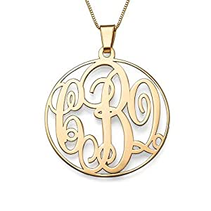 14K Solid Gold Monogram Necklace - Custom Made with any Initials! Free engraving! (14k Gold, 16 Inches)