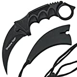 Stainless Steel Camping Hunting Knife Tactical Knife Karambit --Fixed Blade --With Rope (black) (Color: Black)