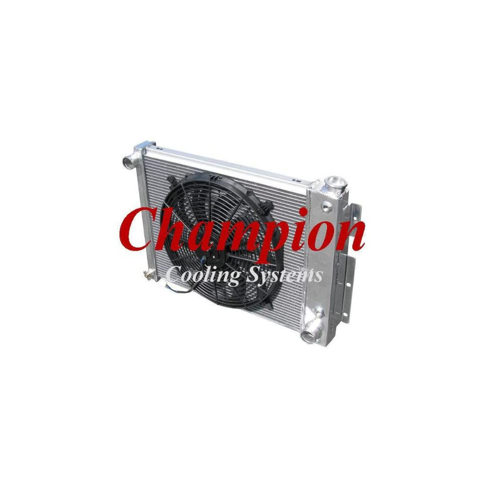3 Row All Aluminum Replacement Radiator AND 16 Reversible Fan for the 1967 69 Chevy Camaro (SMALL BLOCK), 1967 69 Pontiac Firebird/Trans Am   Manufactured by Champion Cooling Systems, Part Number 337FAN