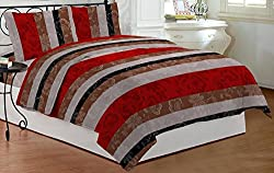 Bombay Dyeing Dew Drop Polycotton Double Bedsheet with 2 Pillow Covers - Red