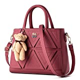 VINICIO Women's Fashionable Fashionable Leisure Beautiful Lovely Bear Handbag(WineRed)