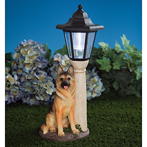 Bits and Pieces-Solar Shepherd Lantern-Solar Powered Garden Lantern - Resin Dog Sculpture With LED Light (Resin Shepherd compare prices)