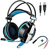 KOTION EACH GS700 3.5mm Gaming Game Headset Headphone Earphone Headband With Mic Stereo Bass LED Light For PS4 PC Computer Laptop Mobile Phones Red Blue