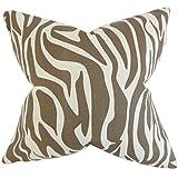 The Pillow Collection P20-PP-KATO-ITALIONBROWN-L75-C Dari Zebra Print Pillow, Brown, 20