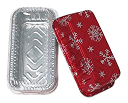 Durable Packaging 9401P Holiday Aluminum Loaf Pan with Plastic Dome Lid (Pack of 100)