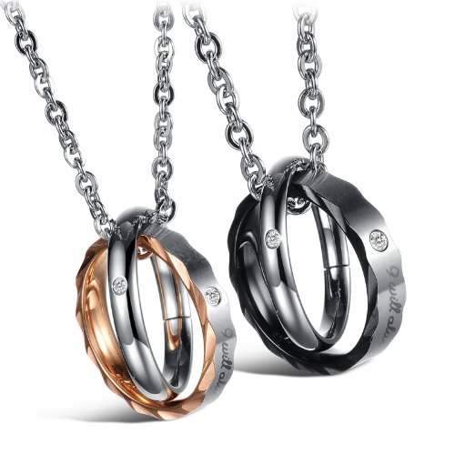 Opk Jewellery Fashion Stainless Steel Necklace Inlaid Crystal Engraved