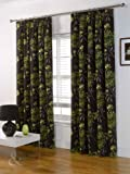 Just Contempo Curtain 66x90 inches ( extra long bedroom ) Poly Cotton LUXURY Half PANAMA CURTAINS Heavy Pencil Pleat Curtain - Fully Lined, Green