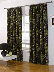 curtain fully lined green brown chocolate yellow lime curtain