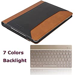 iPad Air 2 Keyboard and Case, KVAGO Premium Genuine Leather Case + Slim Compact Wireless Bluetooth Backlit Keyboard with 7 Colors Backlight Real Leather Protective Cover Folio Case with Kickstands & Hand Strap & Document Paper Pocket Holder Sleeve for Apple iPad Air 2 (iPad 6th Generation) Flip Cover Portfolio Case with Backlight Keyboard - Black