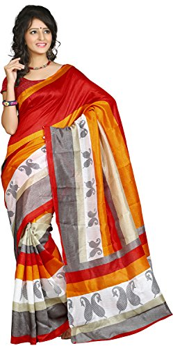 RIEANA DESIGNS Women's Polycotton Saree(505 A Fiona)
