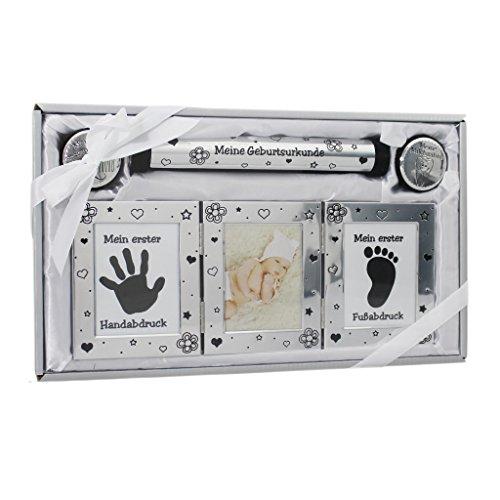 Geschenk zur Geburt und Taufe Baby Handabdruck Fußabdruck Set mit Bilderrahmen für Neugeborene