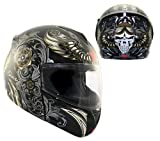 Advanced Hawk Aviator Skull Dual Visor Full Face Motorcycle Helmet