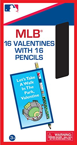 Paper Magic MLB combo Valentines with Bonus Pencils (16 Count)